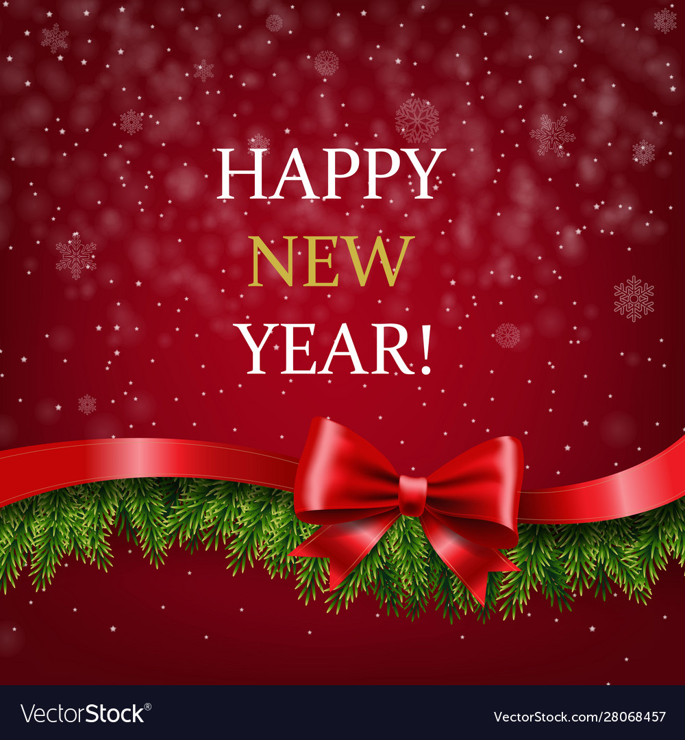 Happy new year banner with ribbon and fir tree