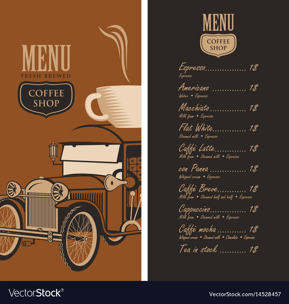 Menu for a coffee shop with old car cup and price