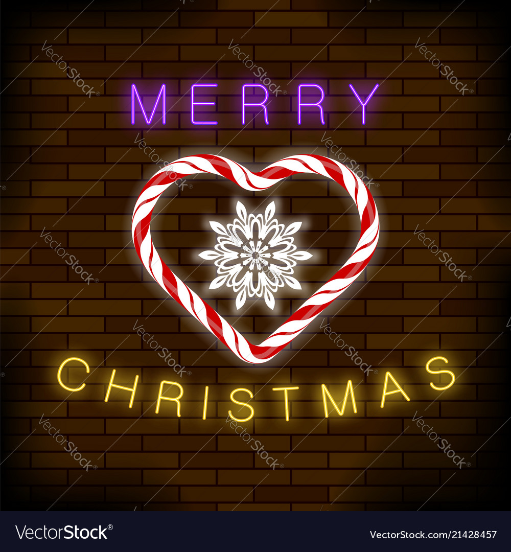 Merry christmas colorful neon sign with candy