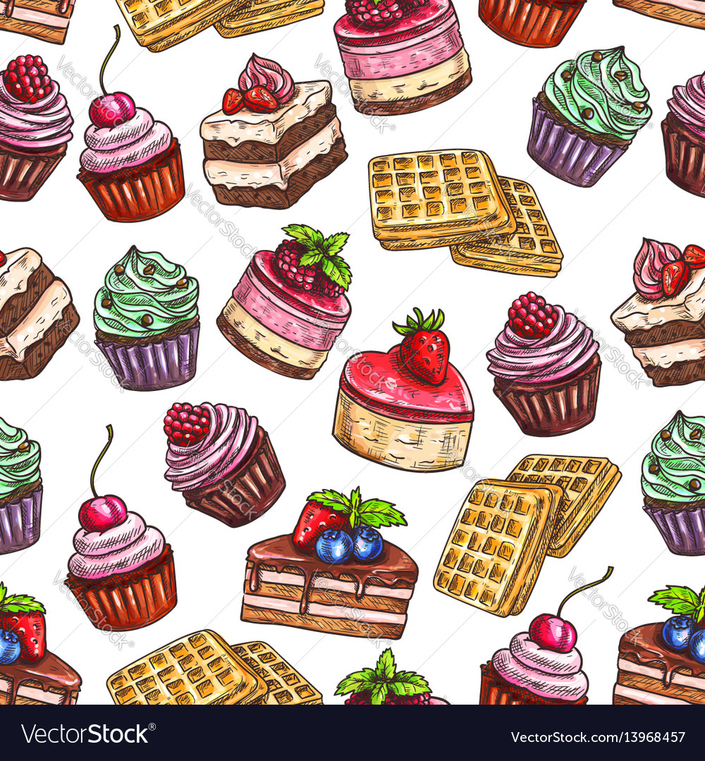 Pastry pattern of patisserie desserts