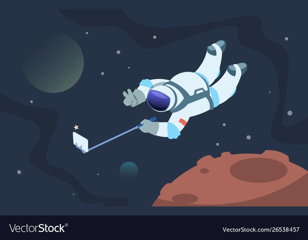 Selfie astronaut fanny cosmonaut taking photos in