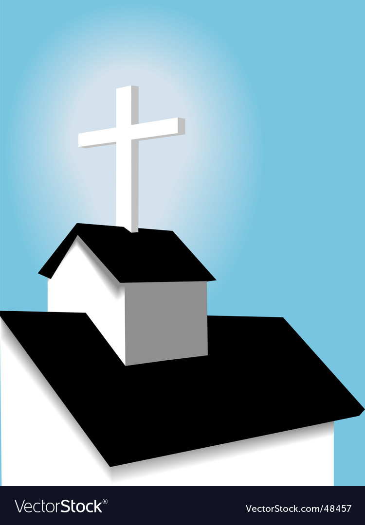 Steeple and cross vector image