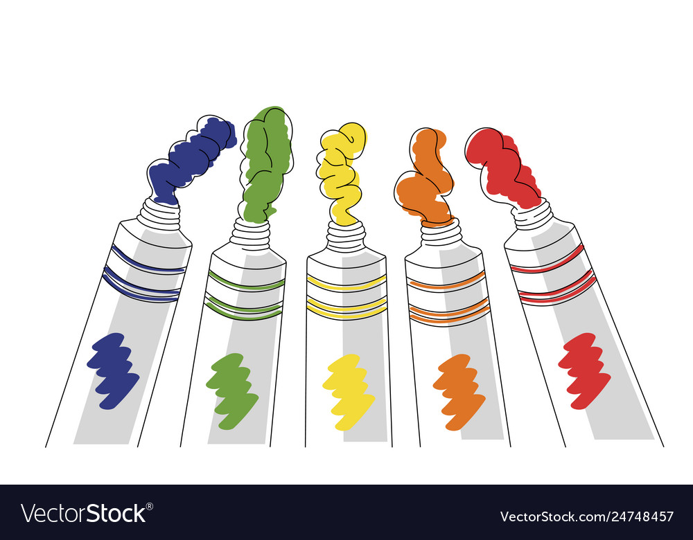 Tempera tubes in five basic color
