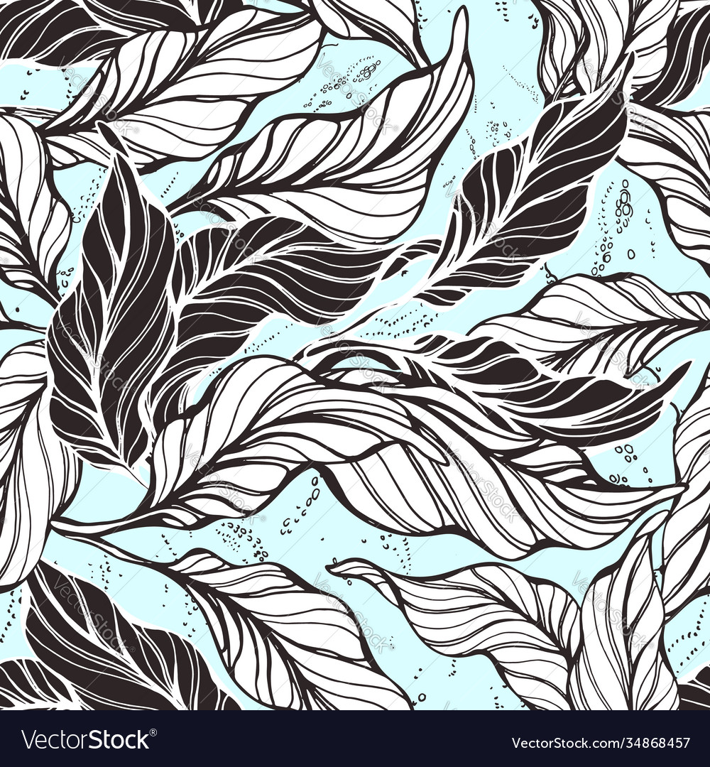 Tropical seamless pattern cocoa nature leaves