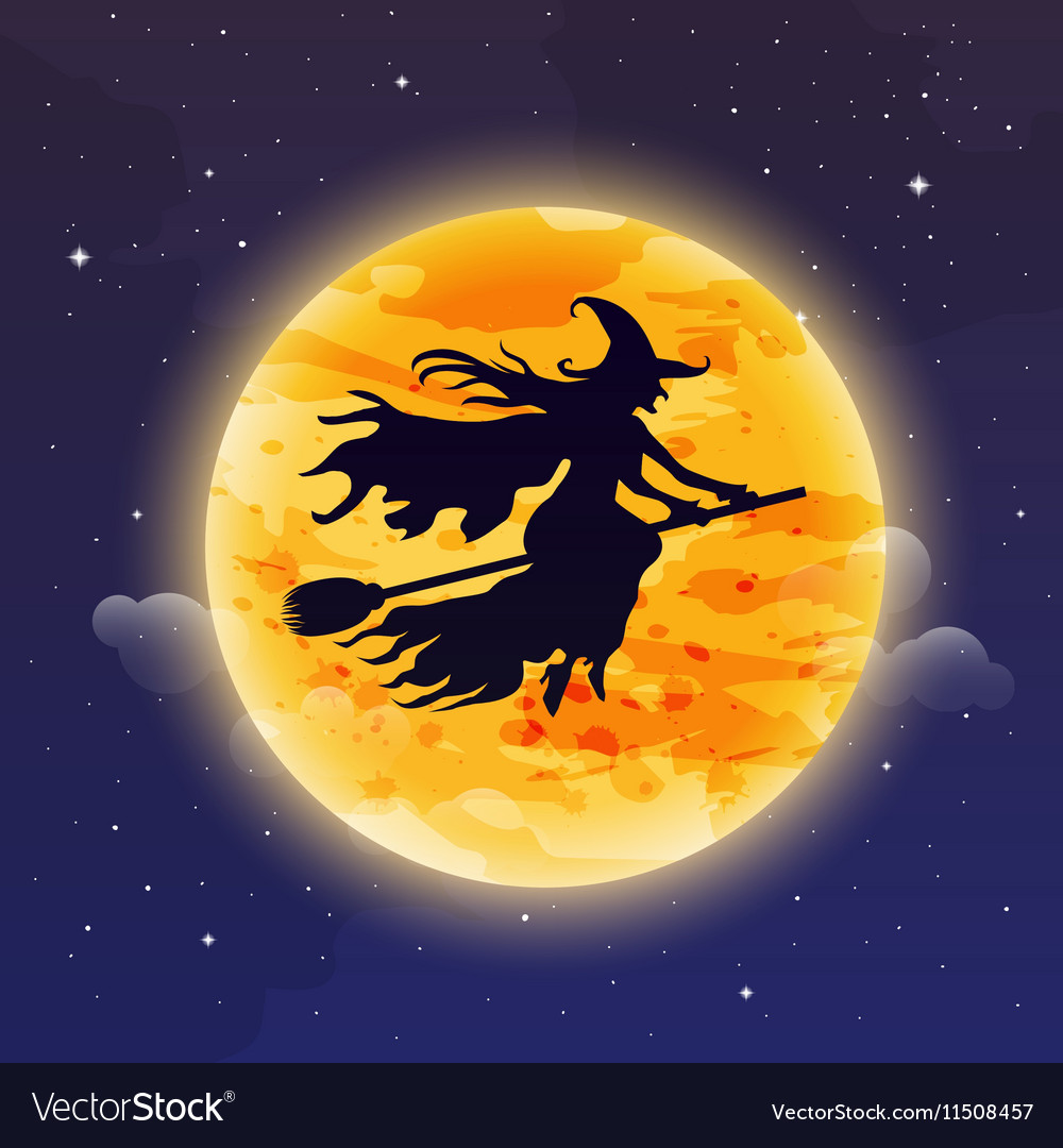 Witch Flying on Broomstick Halloween background