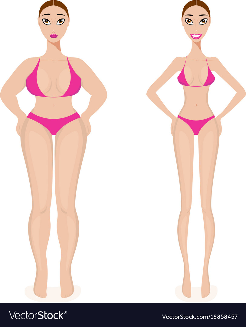 Woman weight loss success before and after obesity