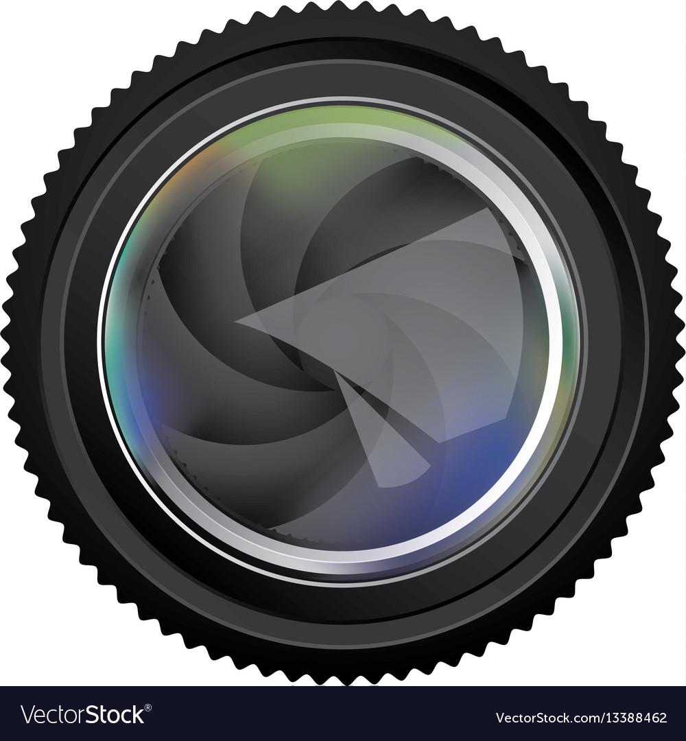 Black camera lens semi closed icon vector image