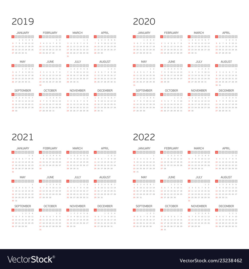 Calendar on 2019 2020 2021 2022 Royalty Free Vector Image