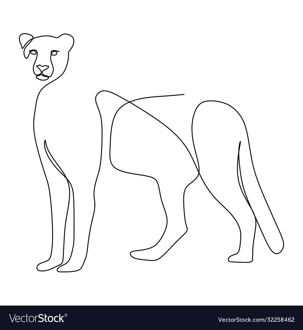 Continuous one line drawing a cheetah standing