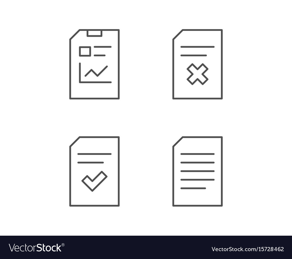 Document report and checklist line icons