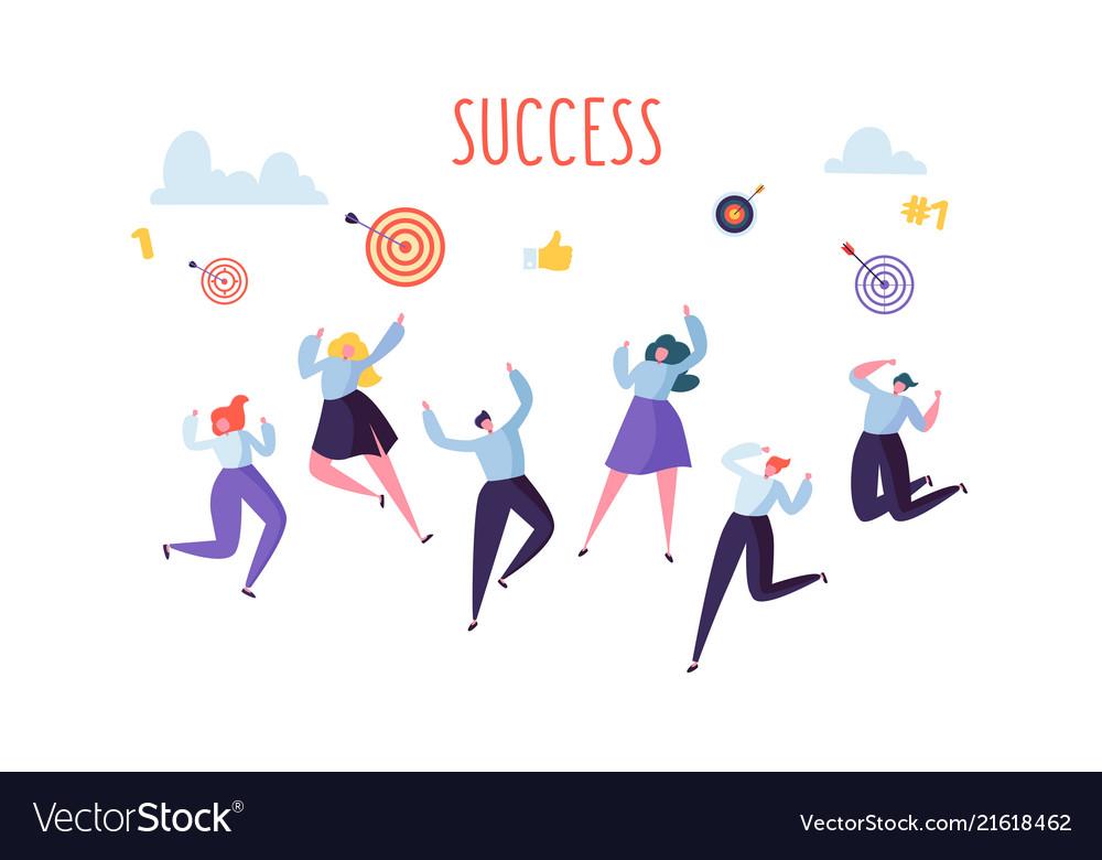 Flat business people celebrating success