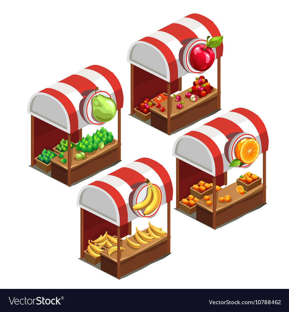 Four stalls selling fresh fruit