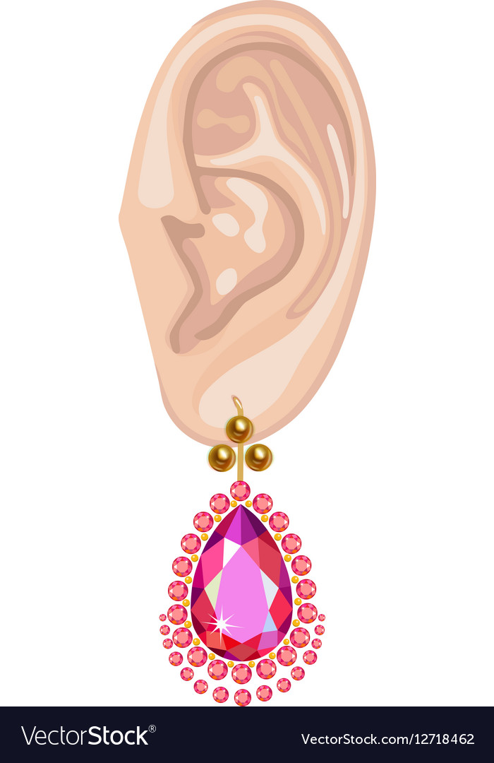 Human ear and hanging pearl earring