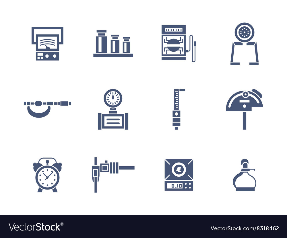 Measurement instruments glyph style icons