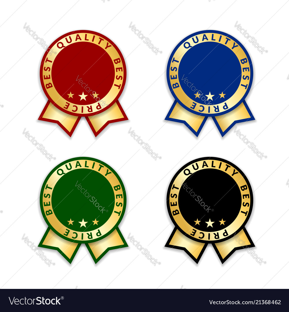 ribbon award best price labels set gold ribbon vector image