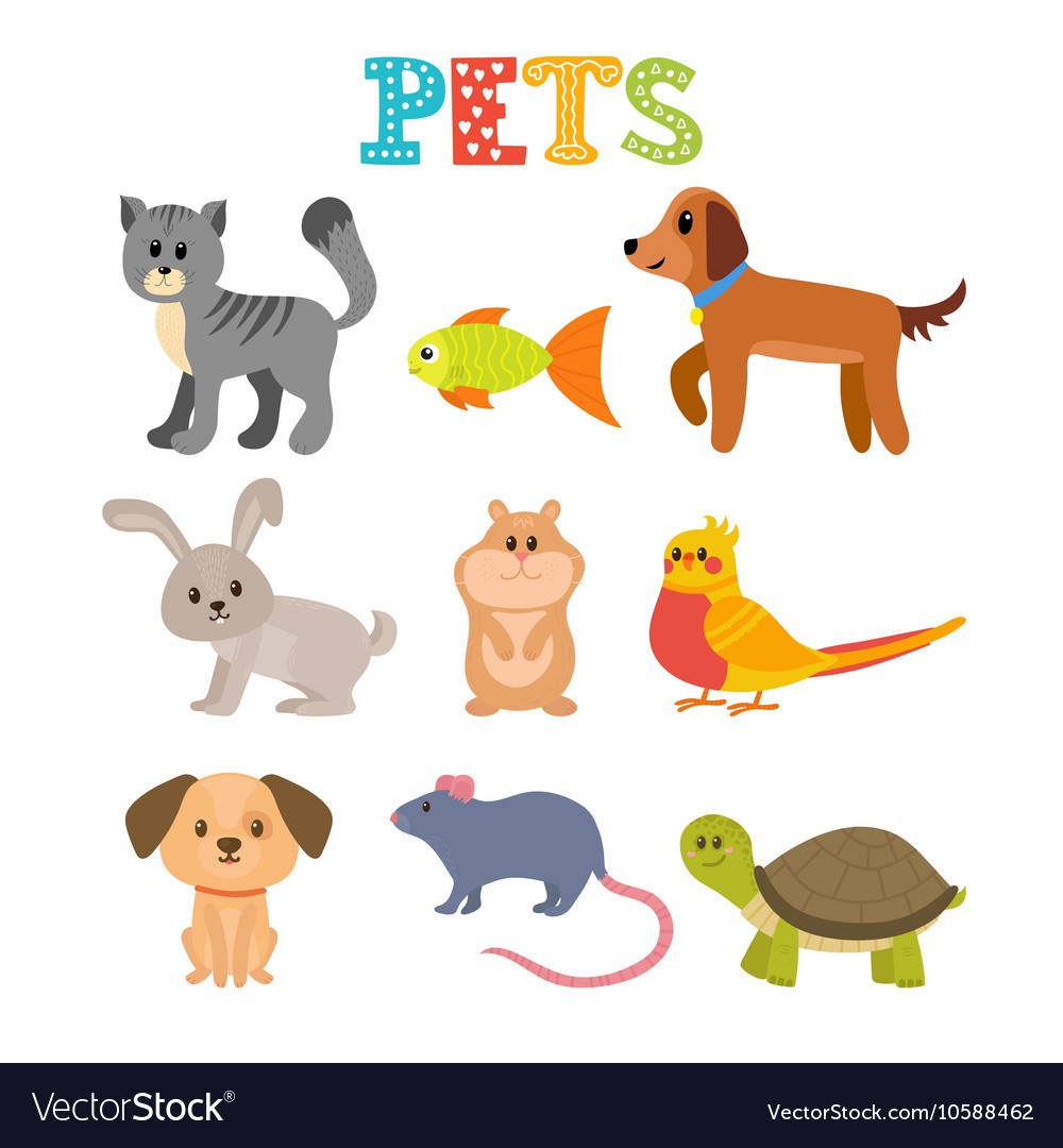 Set of pets Cute home animals in cartoon style