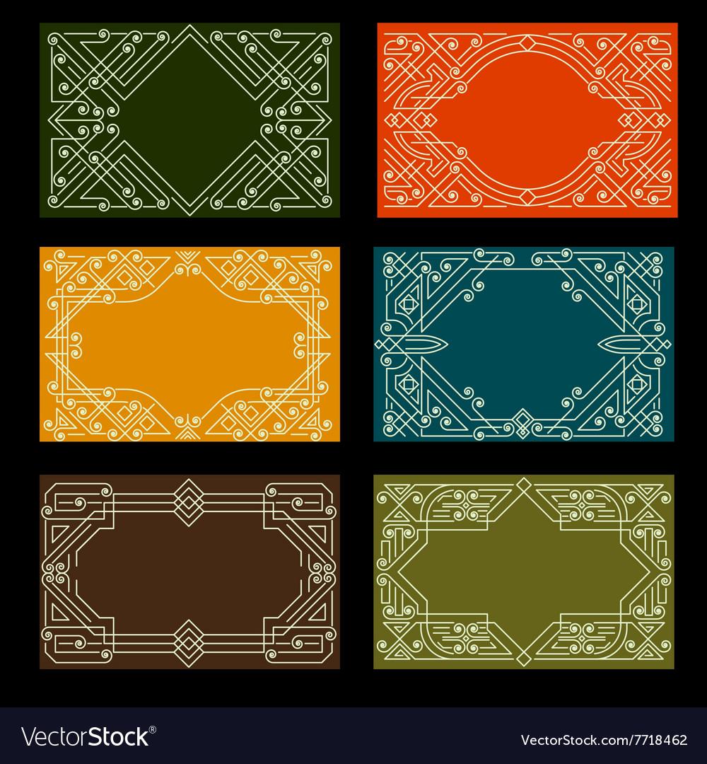 Set of visit card designs with ornate frames