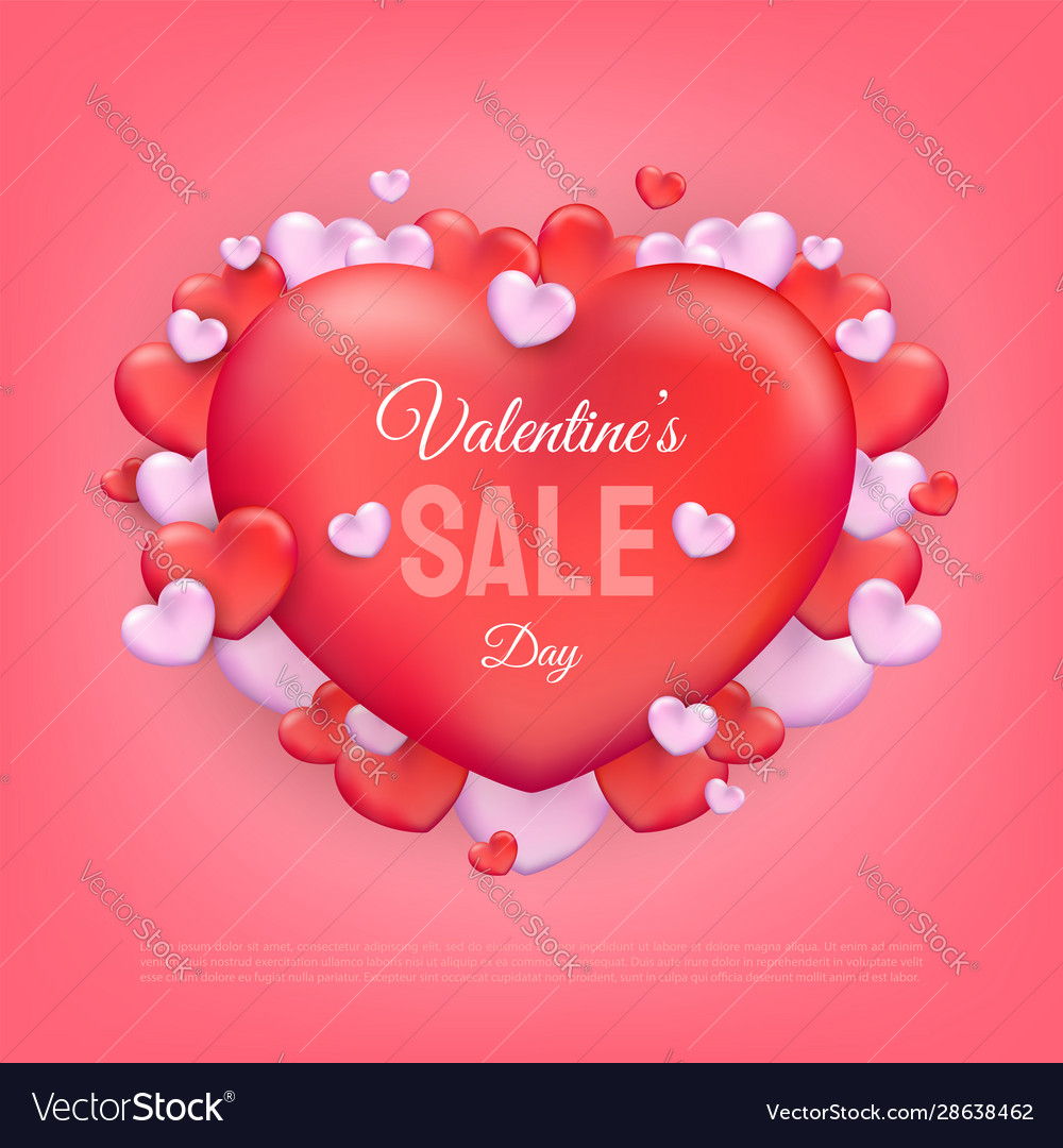 Valentines day sale text with red and pink hearts