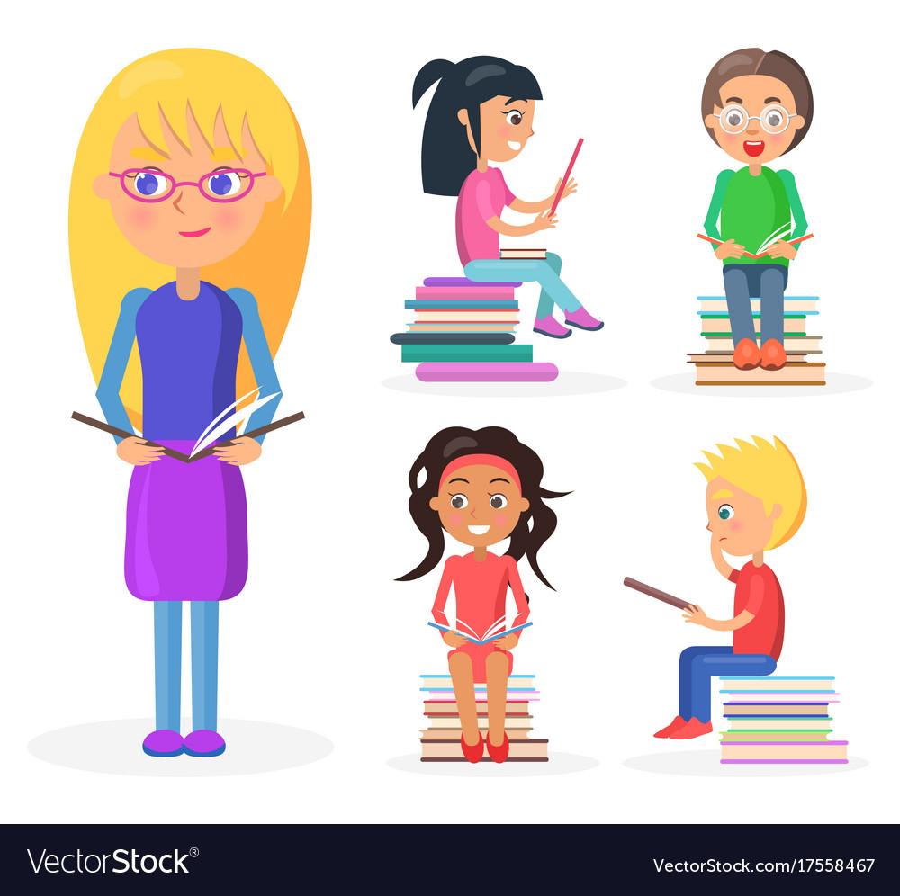 Blonde girl holds book full-length reading kids