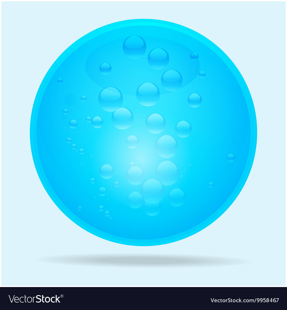 Blue glass sphere and water bubbles