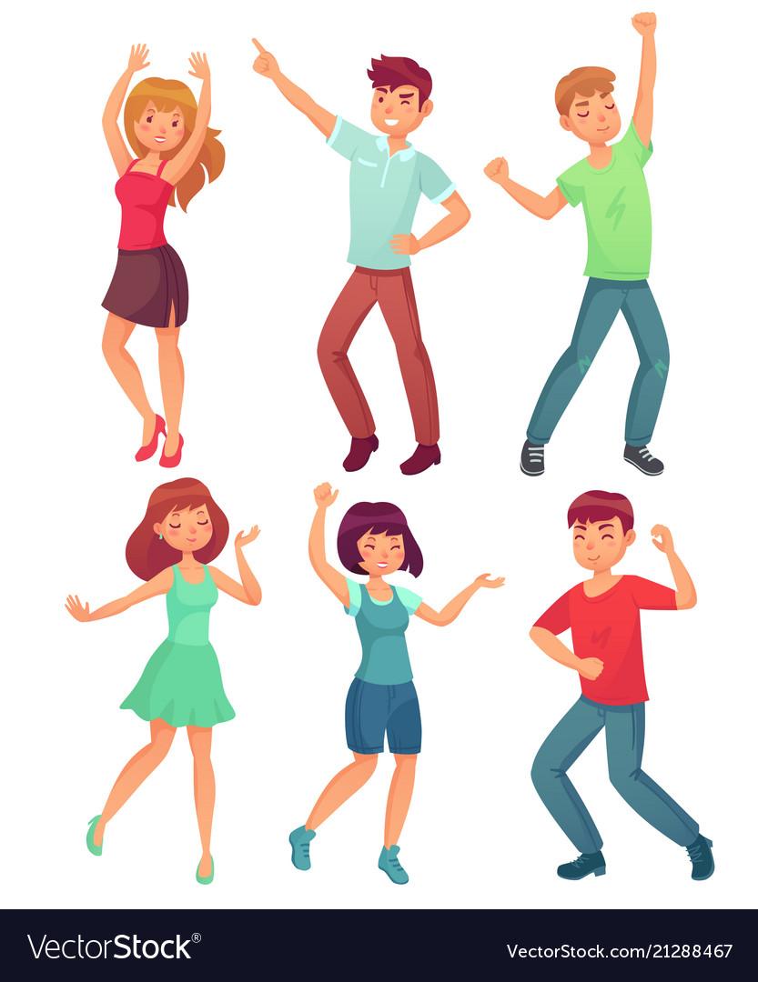 Cartoon dancing people happy dance of excited