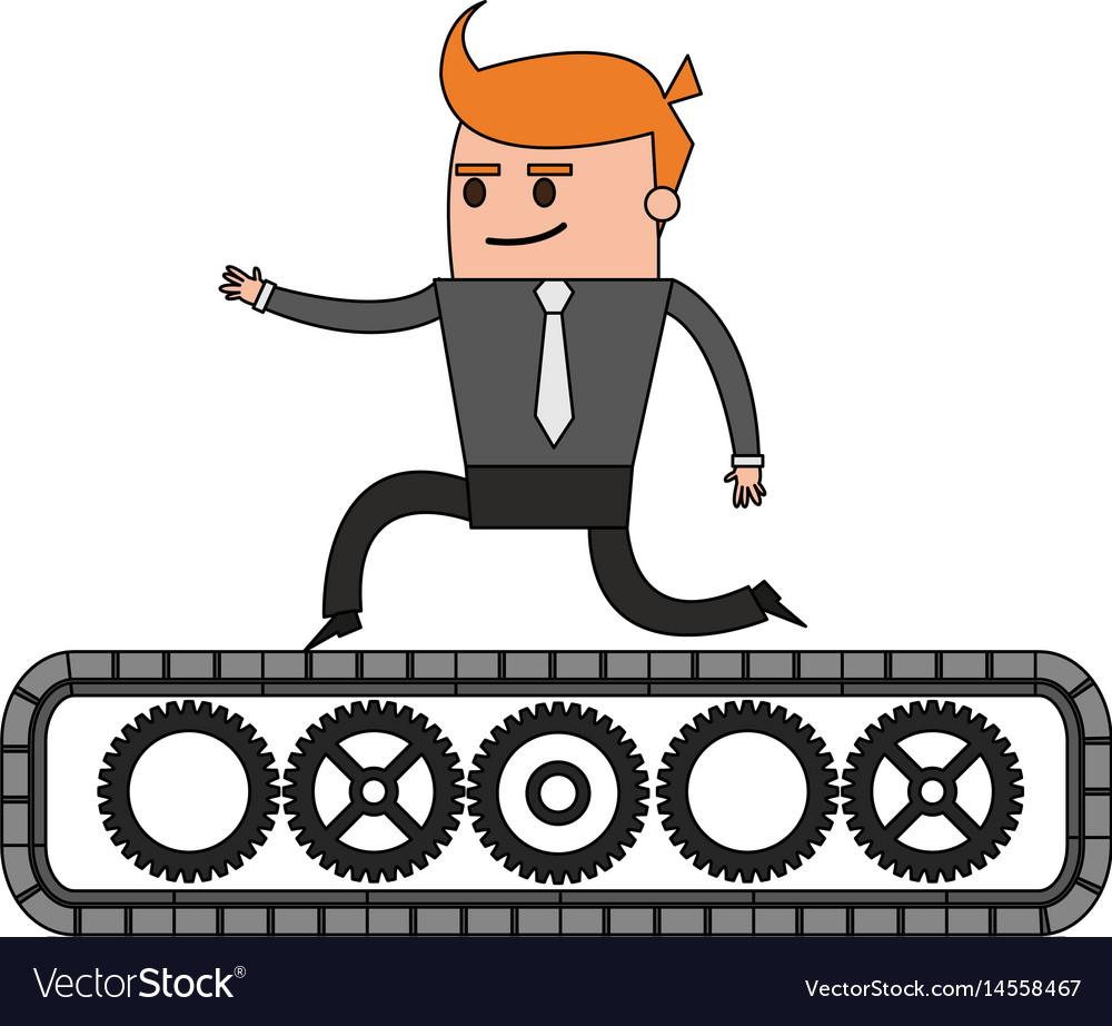 Color image cartoon business man riding an belt