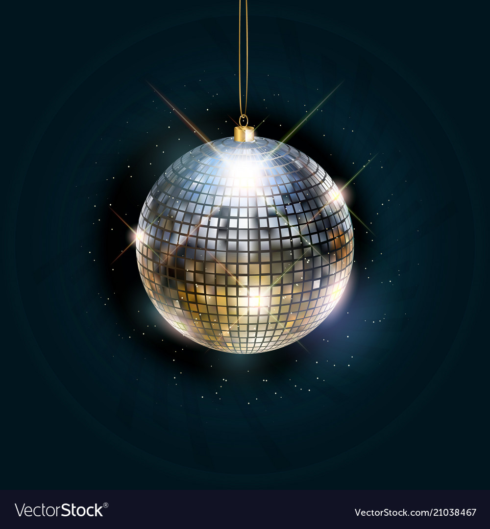 Disco ball with bright rays vector