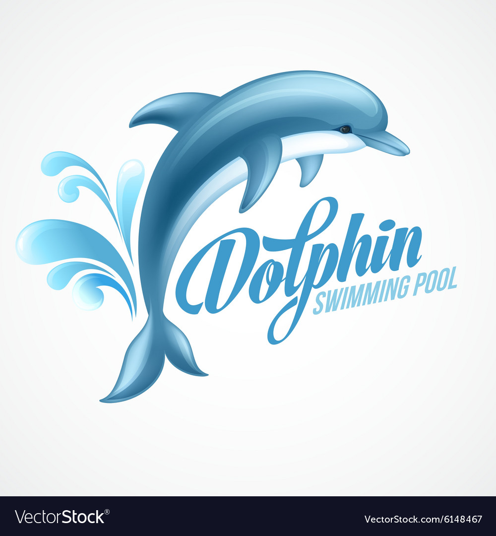 Dolphin Swimming pool sign template Royalty Free Vector