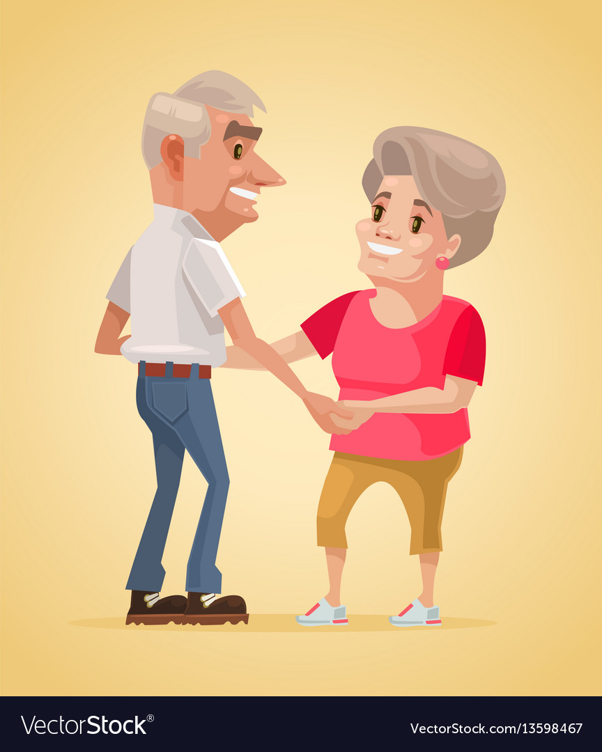 Happy smiling grandparents characters dance