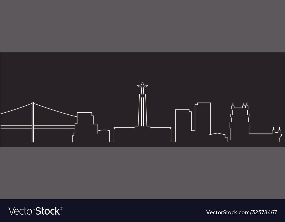 Lisbon single line simple minimalist skyline