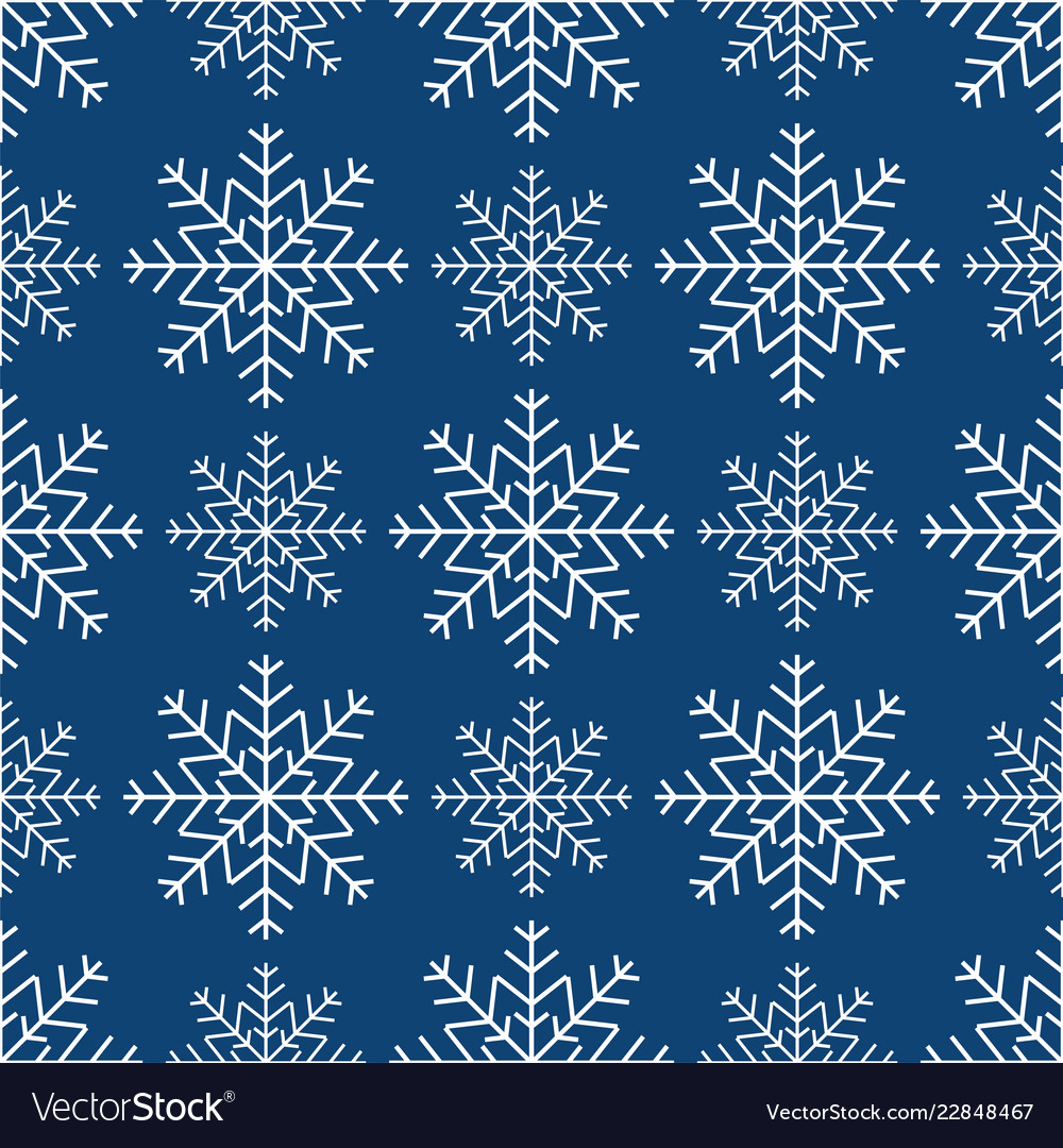 Seamless pattern of snowflakes winter background