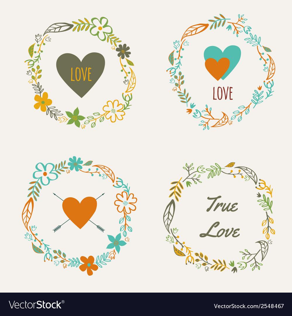 Set of colorful floral frames