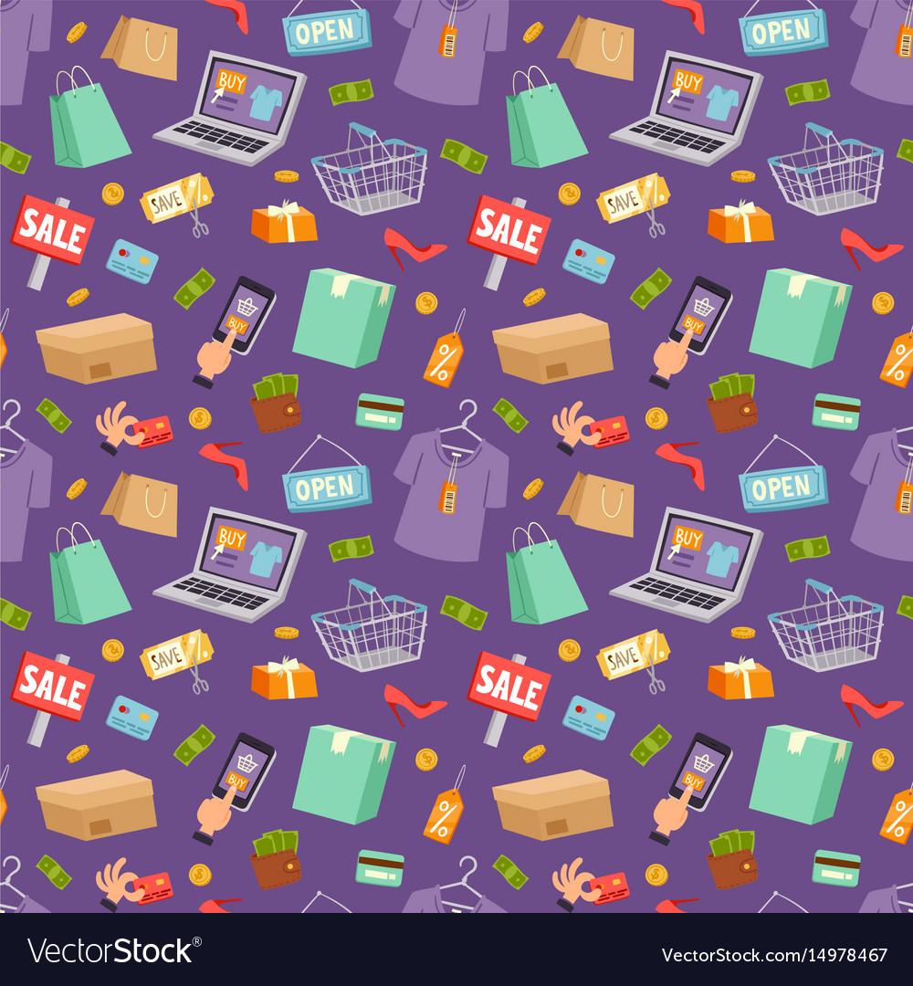 Supermarket web shop cartoon seamless