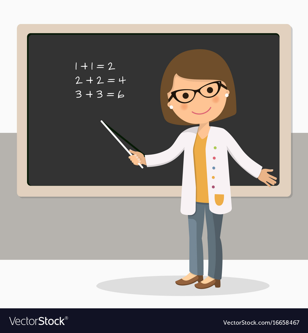 Young female teacher on math lesson at blackboard