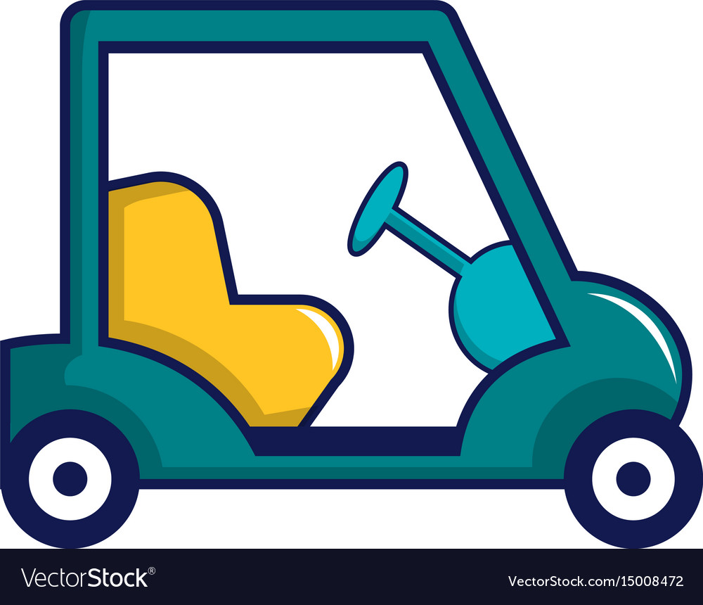 Blue Golf Cart Icon Cartoon Style Royalty Free Vector Image