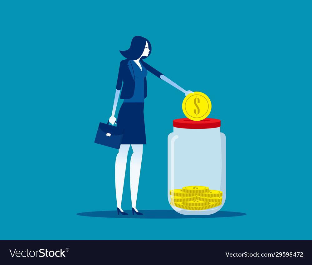 Businessmwoan saving money concept business