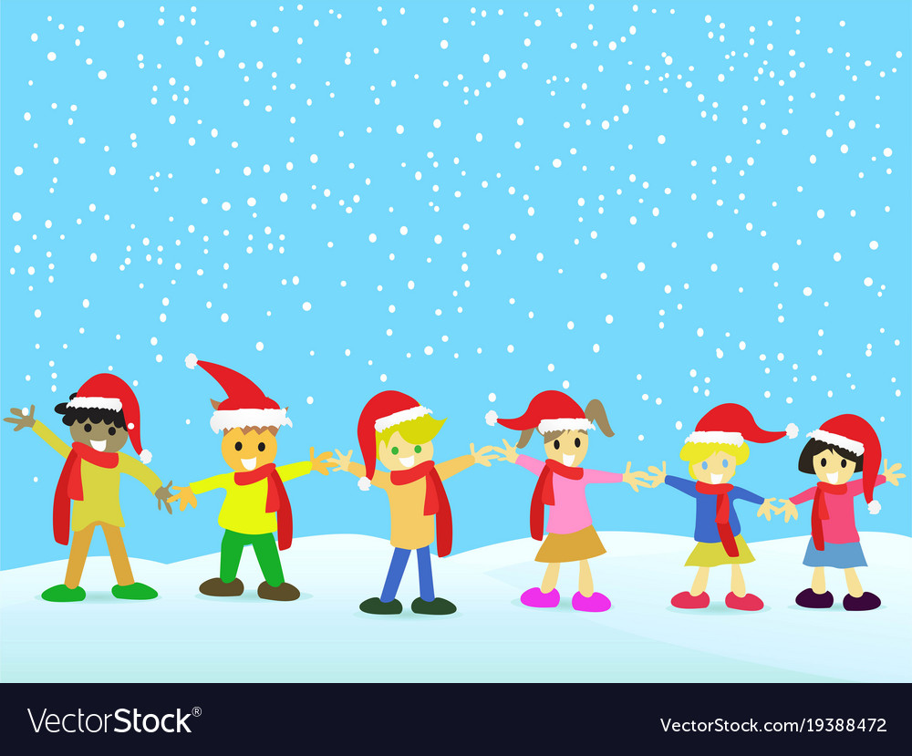 Christmas kids on snowing background Royalty Free Vector