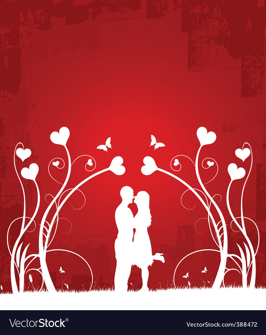 Couple kissing   red 1 vector image