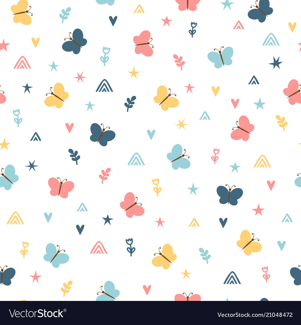 Cute childish seamless pattern with hand drawn