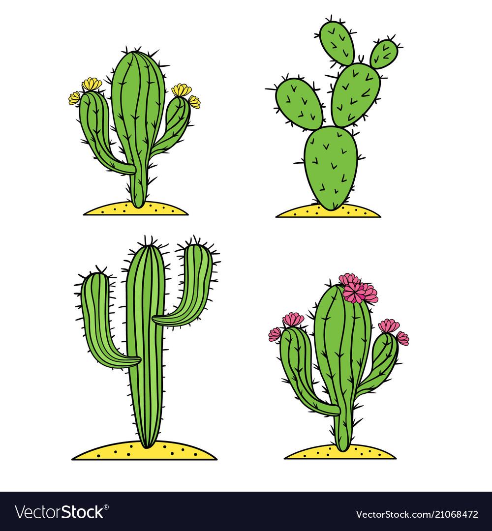 Cute desert cactus set with flowers
