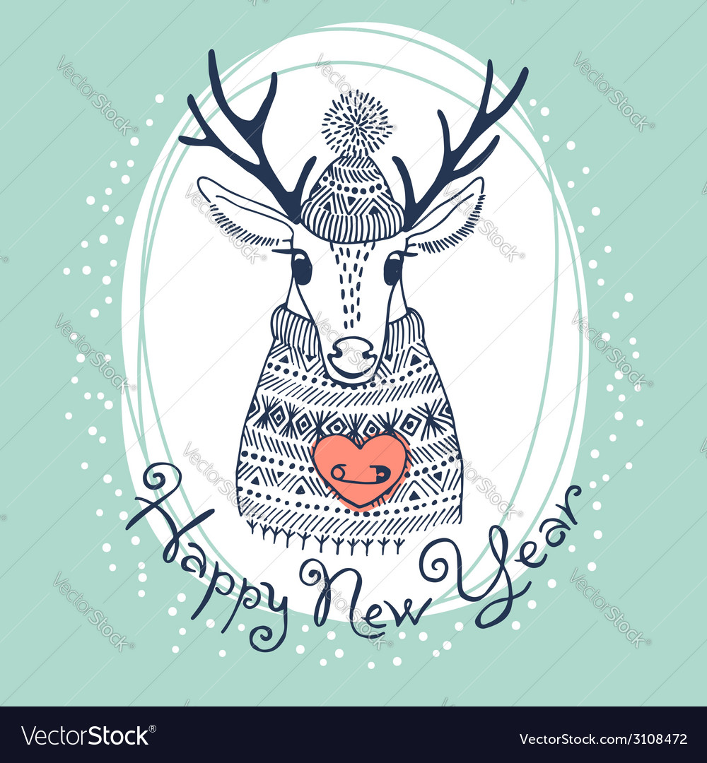 hand drawn with cute deer happy new year card vector image