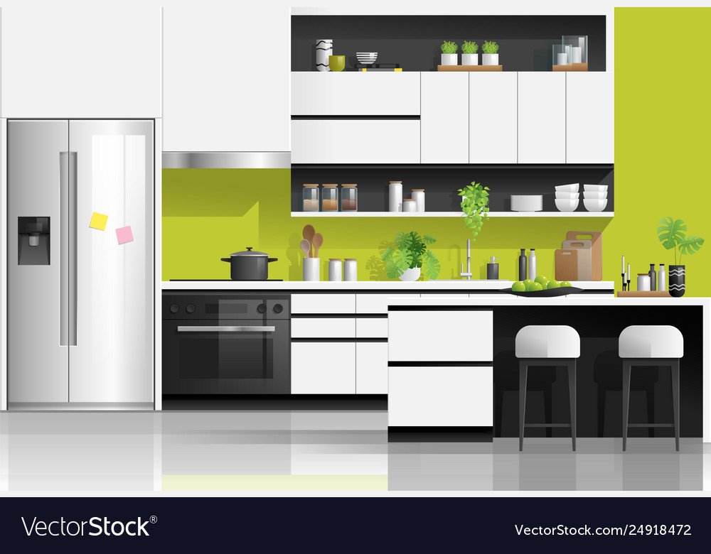 White Kitchen Background Vector Image