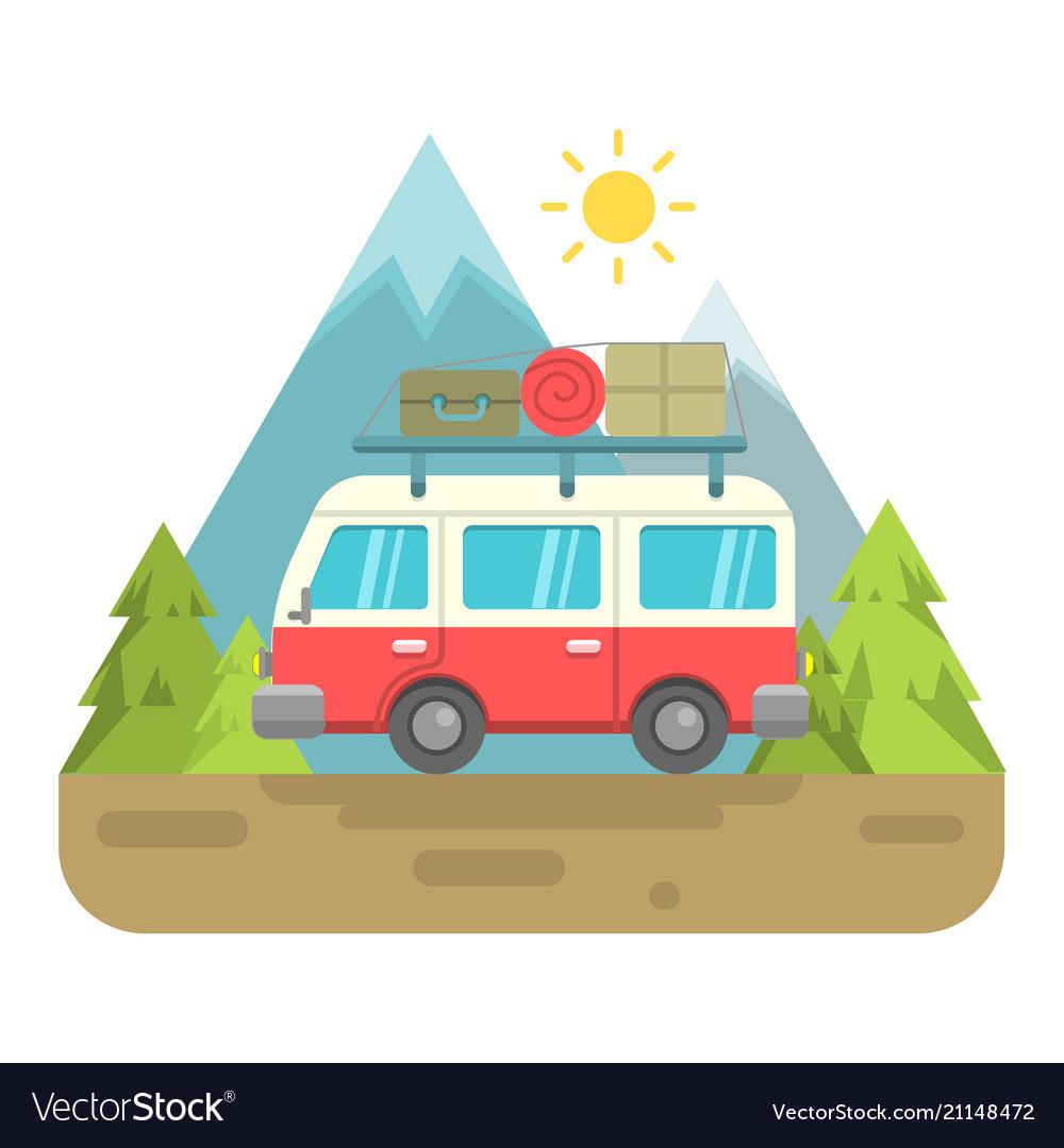 Retro van with mountain background