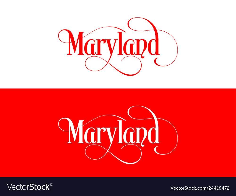 Typography of the usa maryland states handwritten