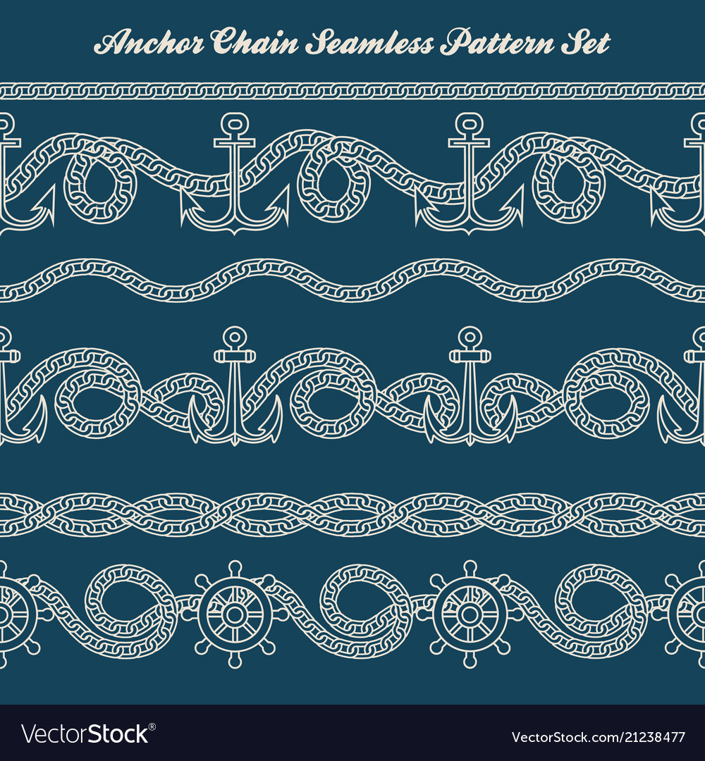 Anchor chain seamless pattern set