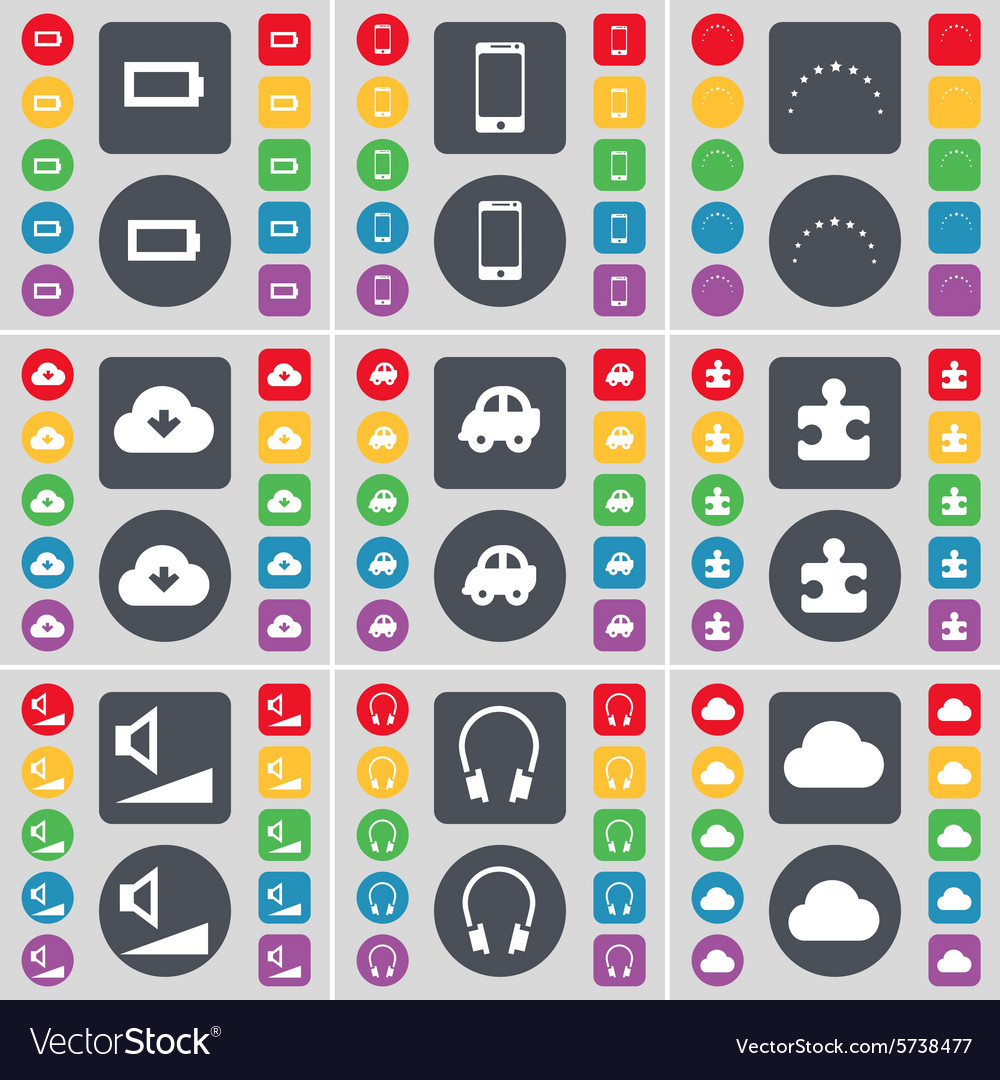 Battery Smartphone Stars Cloud Car Puzzle part vector image