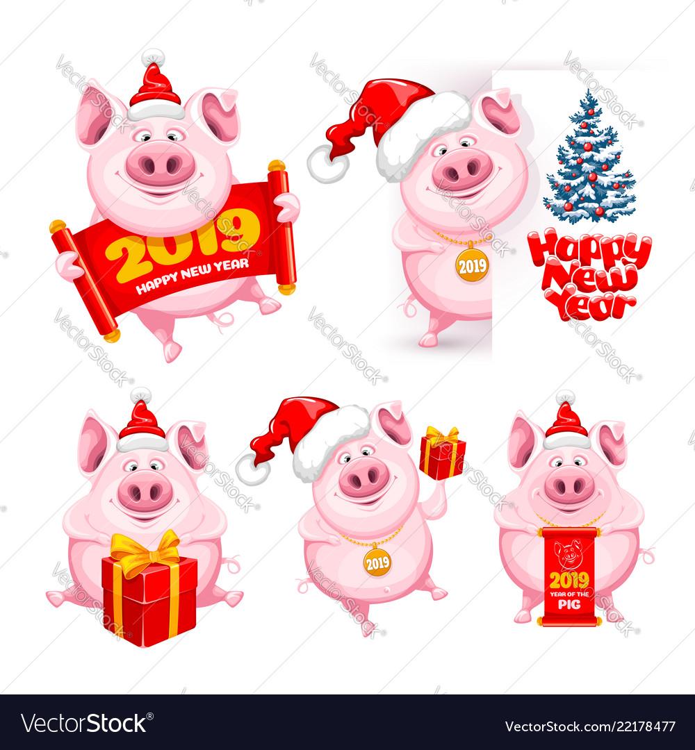 Cartoon pigs set