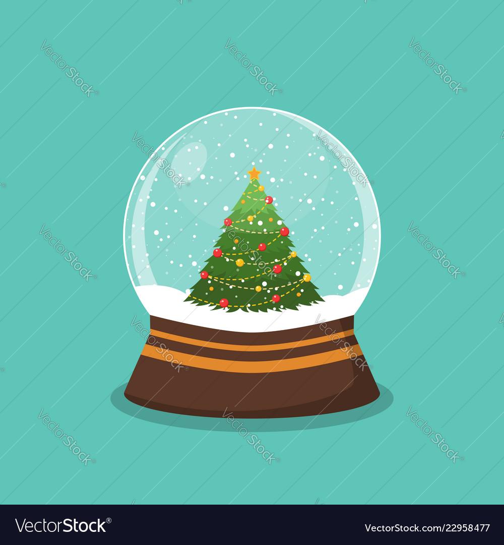 Christmas ball with snow and a christmas tree