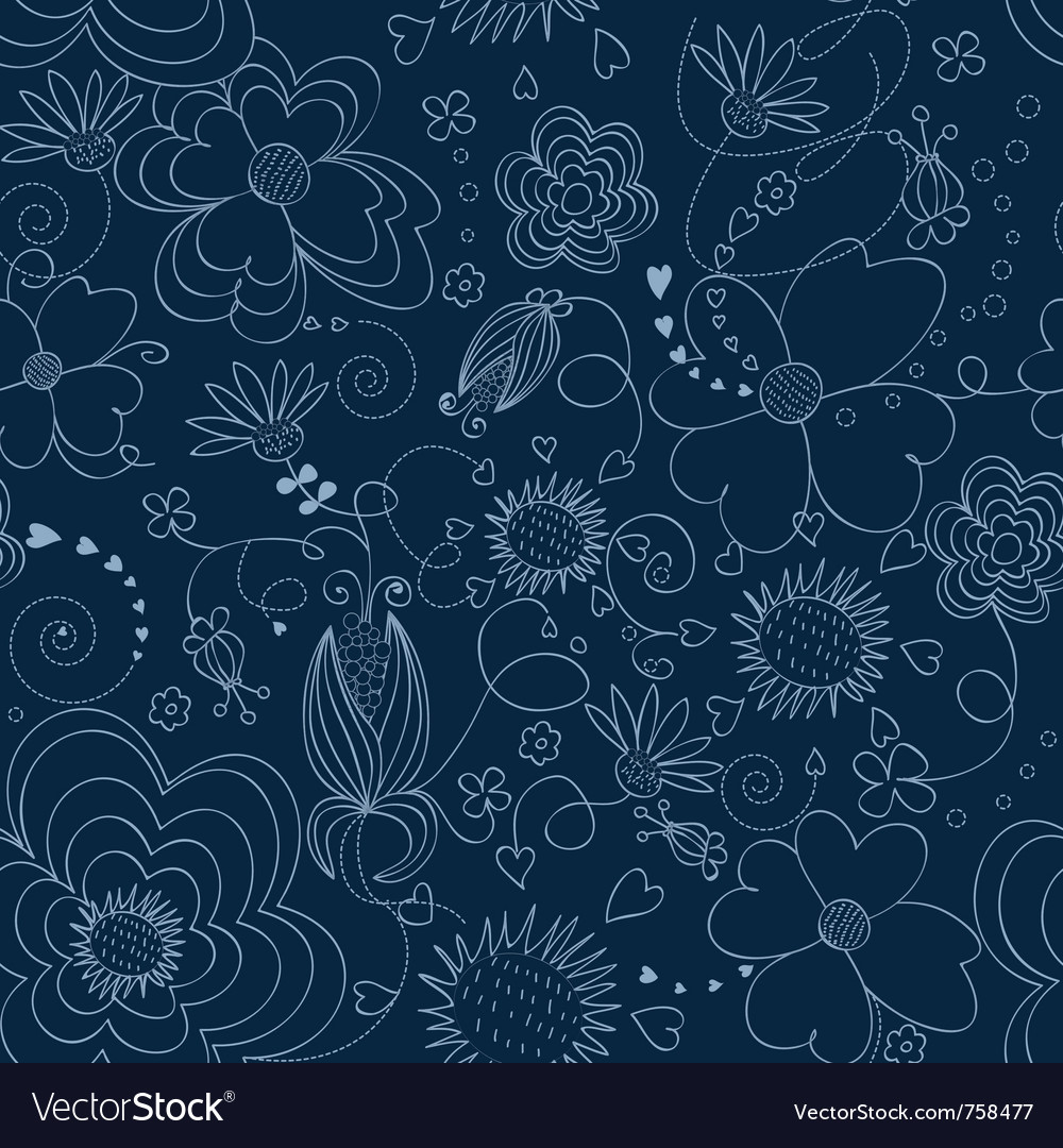 Dark Blue Floral Seamless Pattern Royalty Free Vector Image
