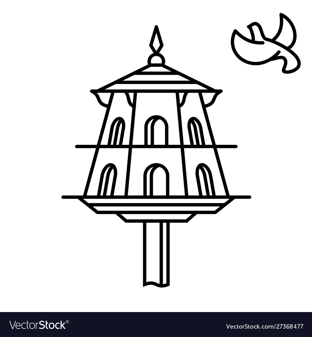 Dovecote outline icon house for birds pigeons